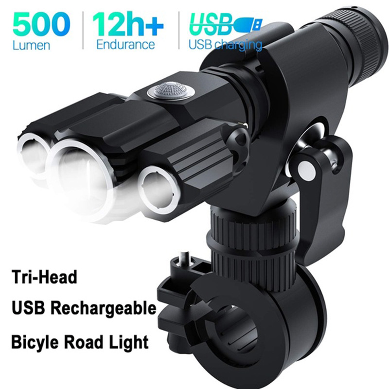 Rechargeable Bicycle Head Front Light Tail Light Waterproof Night Safety Lamps